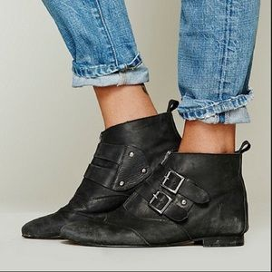 Free People NEW buckle Muse black ankle boots 41